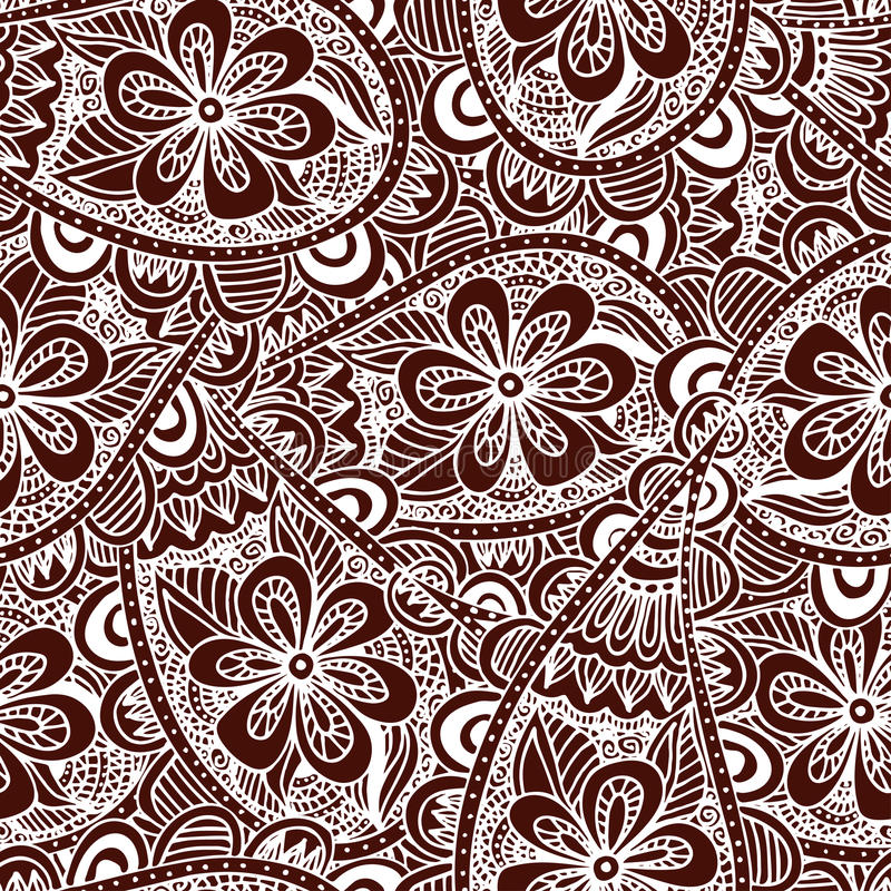 Seamless floral background. Ethnic doodle design pattern. Abstract henna ornament. vector illustration