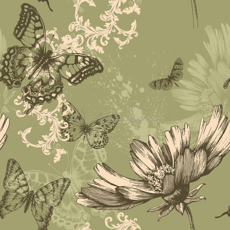 Seamless floral background with flying butterflies vector illustration