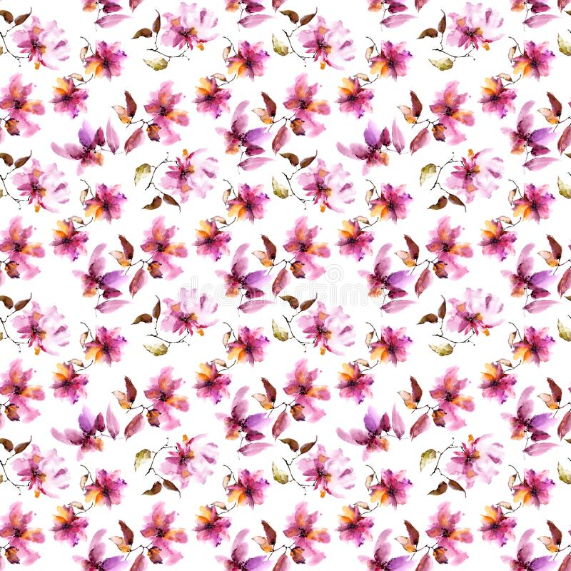 Seamless floral background. Pink flowers pattern. Transparent floral petals. Textile pattern template. royalty free illustration