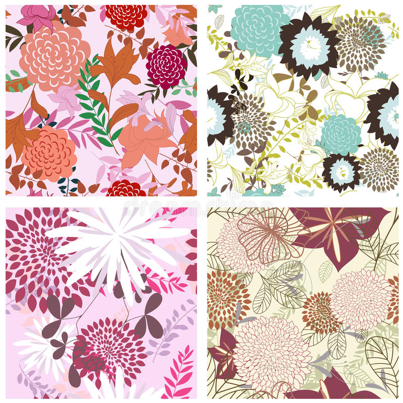 Seamless floral backgrounds set stock illustration