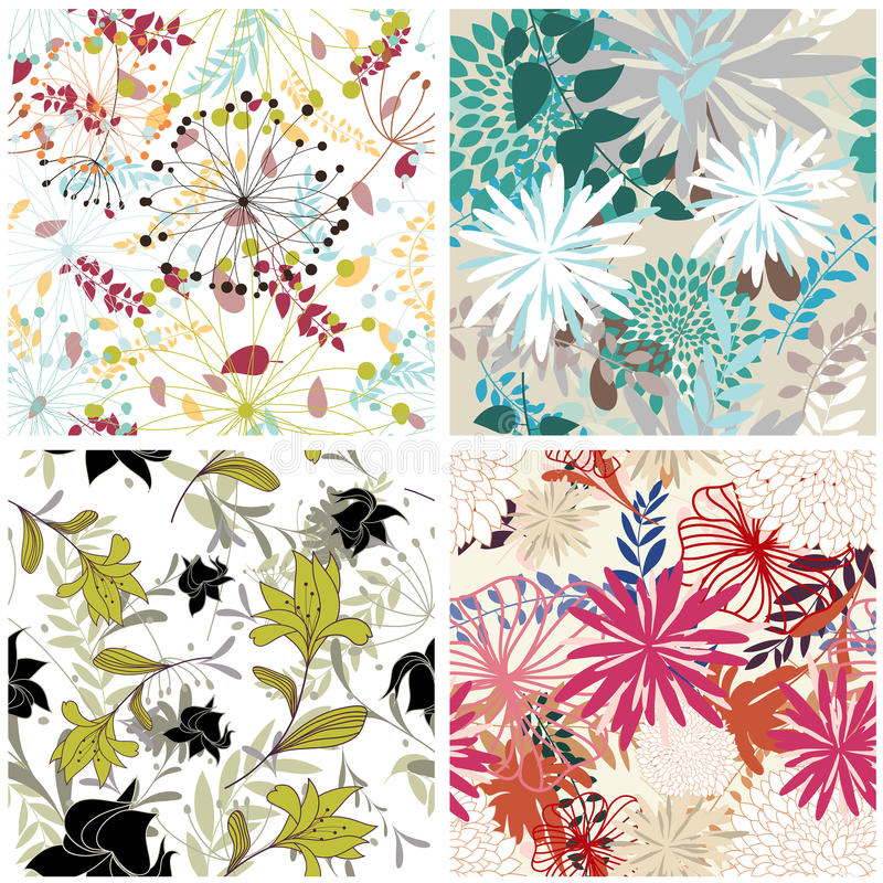 Seamless floral backgrounds set royalty free illustration