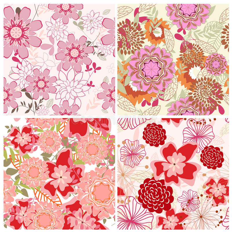 Download Seamless Floral Backgrounds Set Stock Vector - Image: 12771228