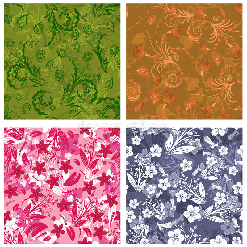 Download Seamless Floral Backgrounds Set Stock Vector - Image: 12803262
