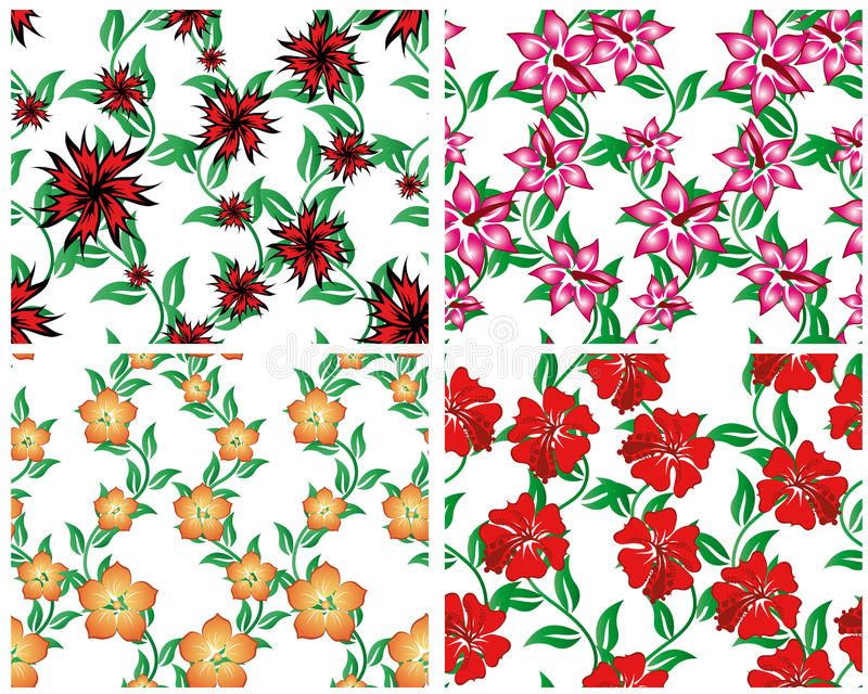 Download Seamless Floral Backgrounds Set Stock Vector - Image: 12843443