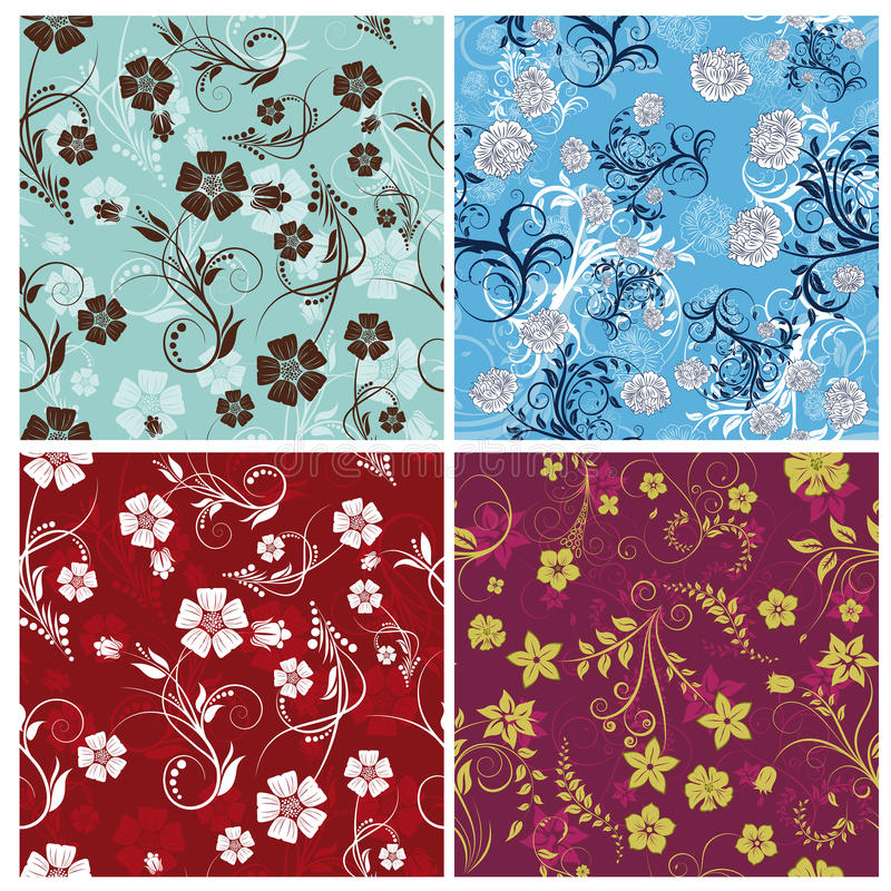 Download Seamless Floral Backgrounds Set Stock Vector - Image: 13138576