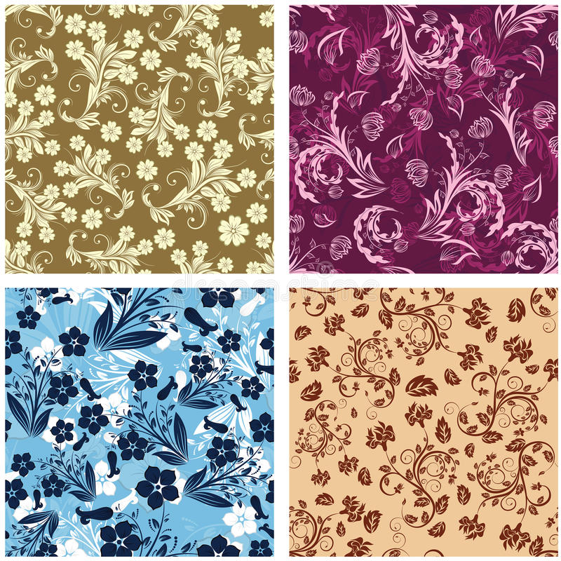 Download Seamless Floral Backgrounds Set Stock Vector - Image: 13241837