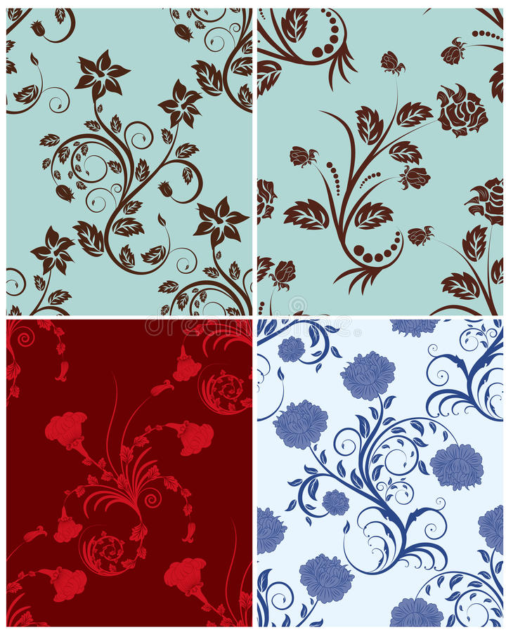 Seamless floral backgrounds set. Seamless vector floral backgrounds set. For easy making seamless pattern just drag all group into swatches bar, and use it for royalty free illustration