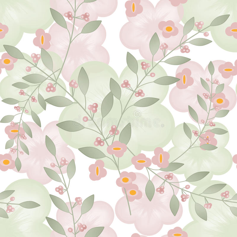 Seamless floral berry pattern beige white background royalty free illustration