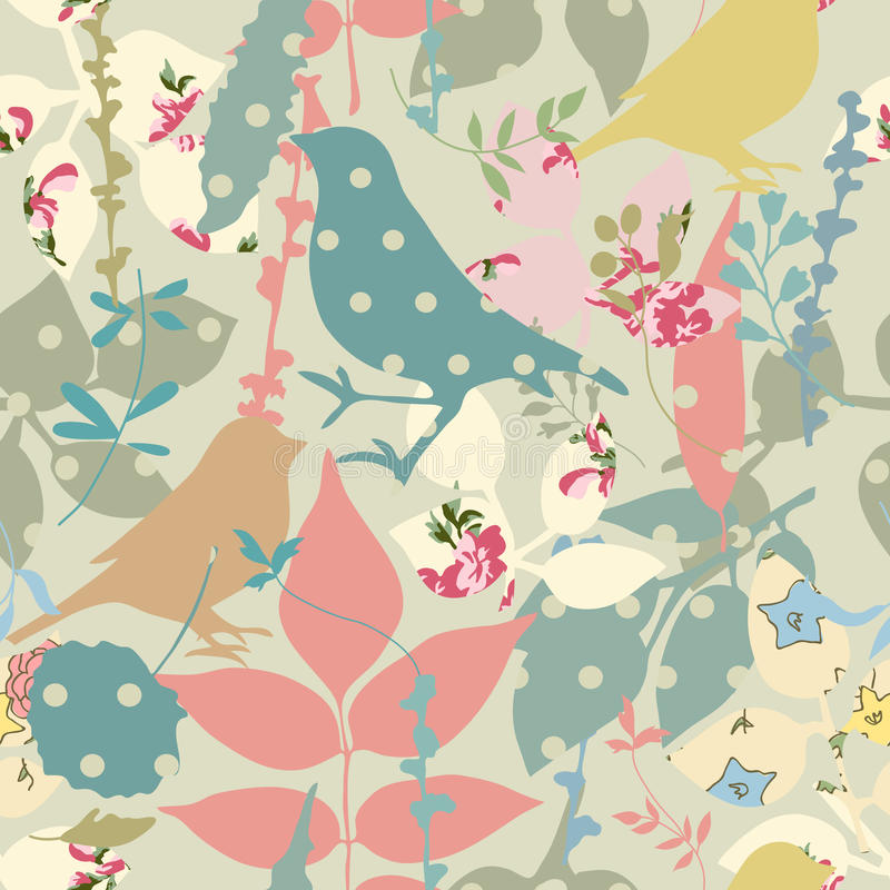 Download Floral seamless with birds stock vector. Image of leaves - 29889903