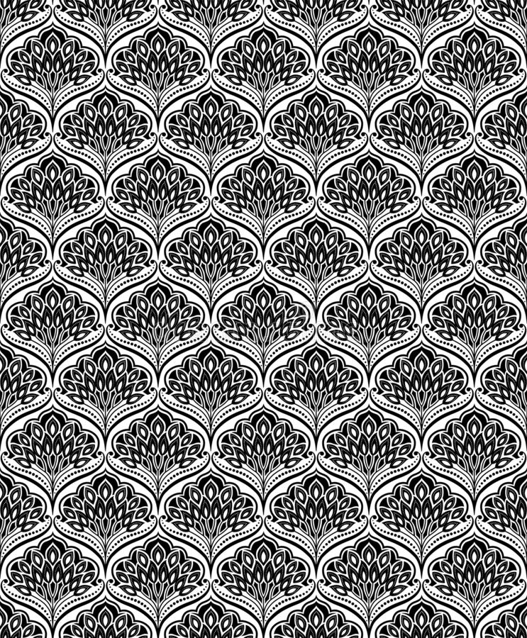 Seamless floral black and white pattern, classic style 库存例证