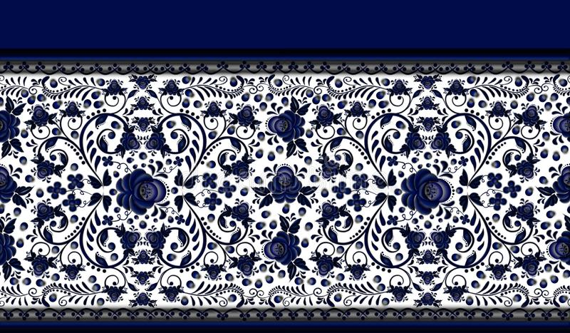 Seamless floral border pattern the style Gzhel. royalty free stock photography
