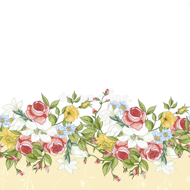 Download Seamless Floral Border Stock Vector Illustration Of Design