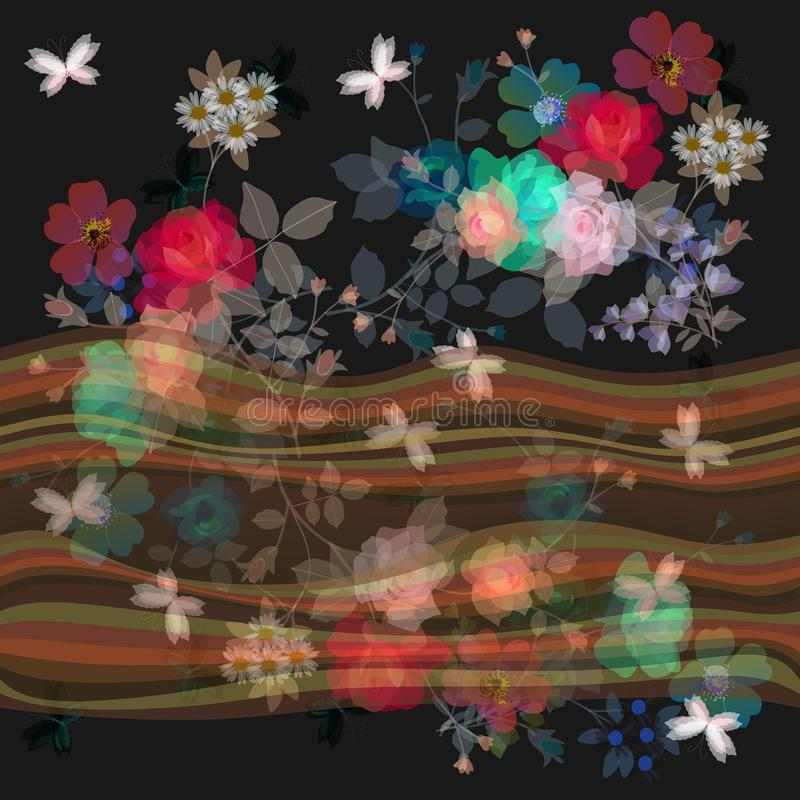 Seamless floral border with waves and transparency bouquets of gardening flowers. Vector summer design stock illustration