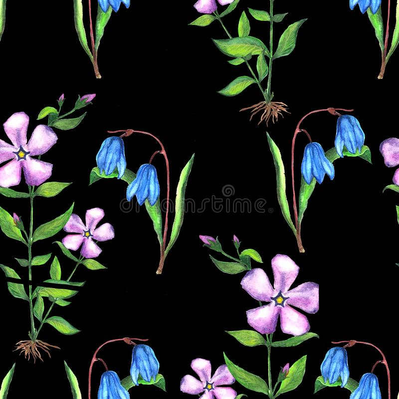 Seamless floral botanical pattern. Watercolor illustration of periwinkle and scilla flowers royalty free illustration