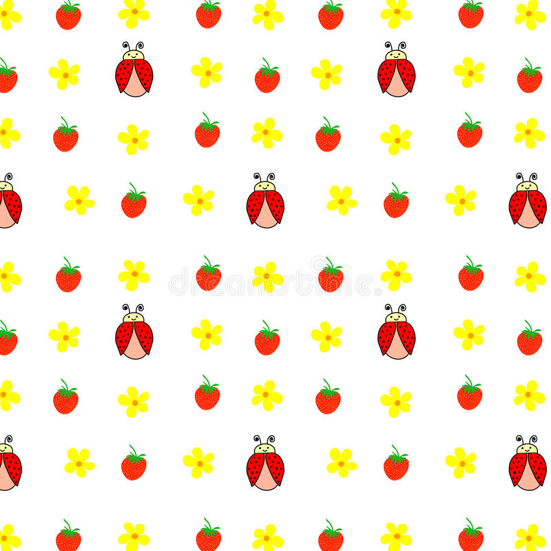 Seamless pattern hand drawn ladybird, yellow daisies camomiles strawberries, kids fabric, quilting, tapestry, wrapping paper. Design vector illustration