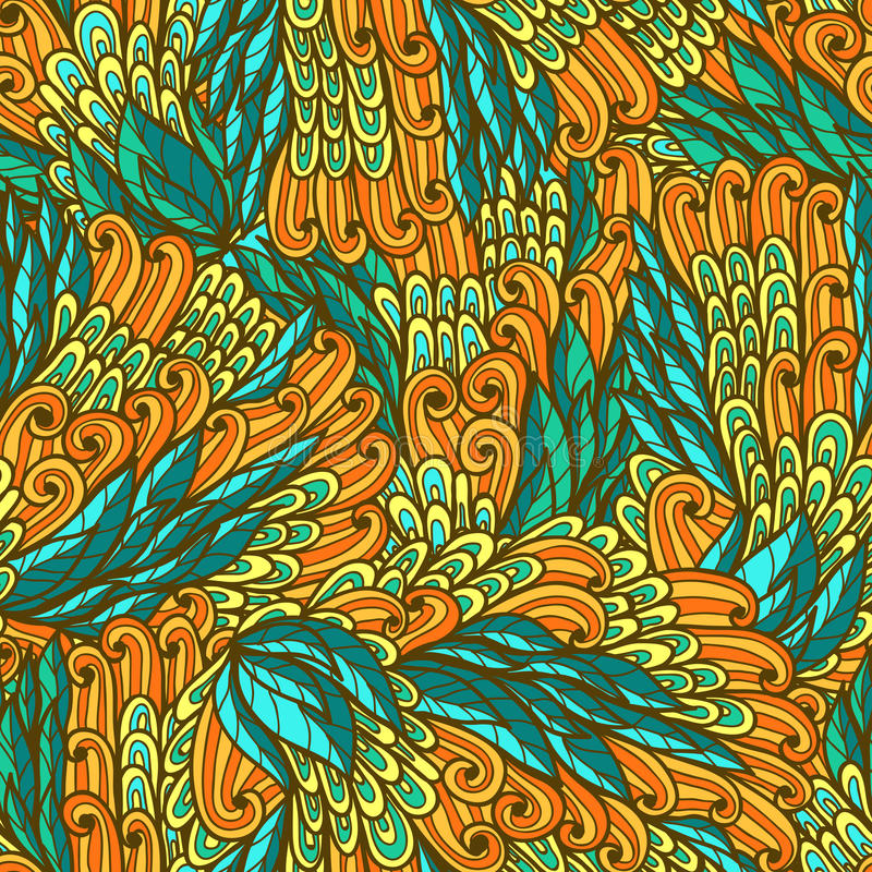Seamless floral bright doodle pattern royalty free illustration
