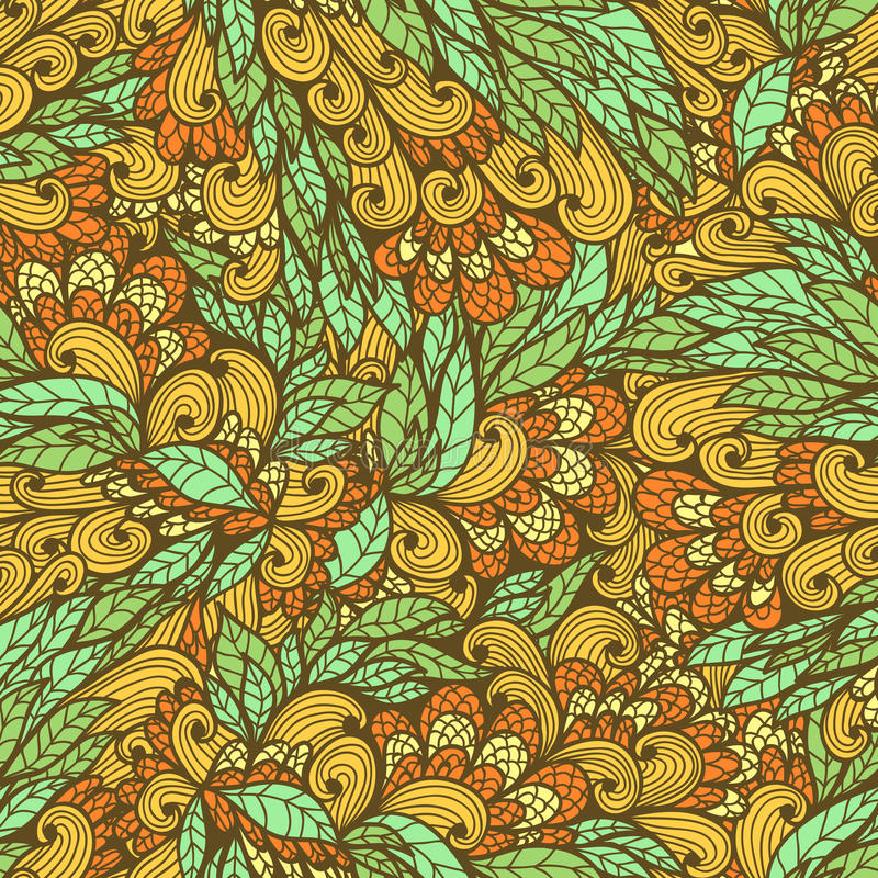 Seamless floral bright doodle pattern stock illustration