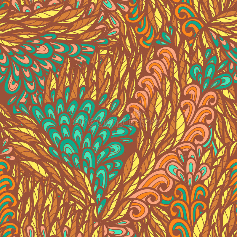 Seamless floral bright summer doodle pattern royalty free illustration