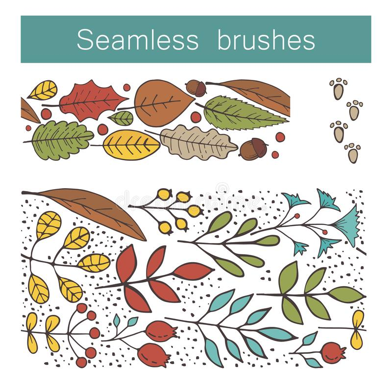 Seamless floral brushes with leafs, flowers, berries, animal tracks. Hand draw botanic vector stock illustration, EPS 10. Seamless floral brushes with leafs stock illustration