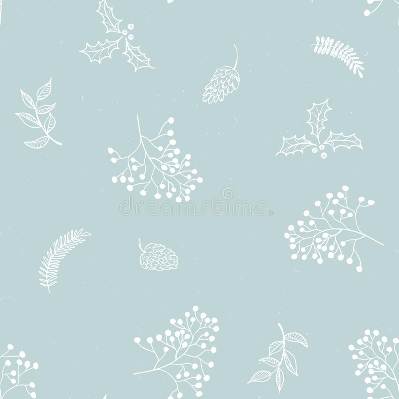 Seamless floral Christmas pattern with white tree branches, fir cones, berries, leaves on blue background 库存例证
