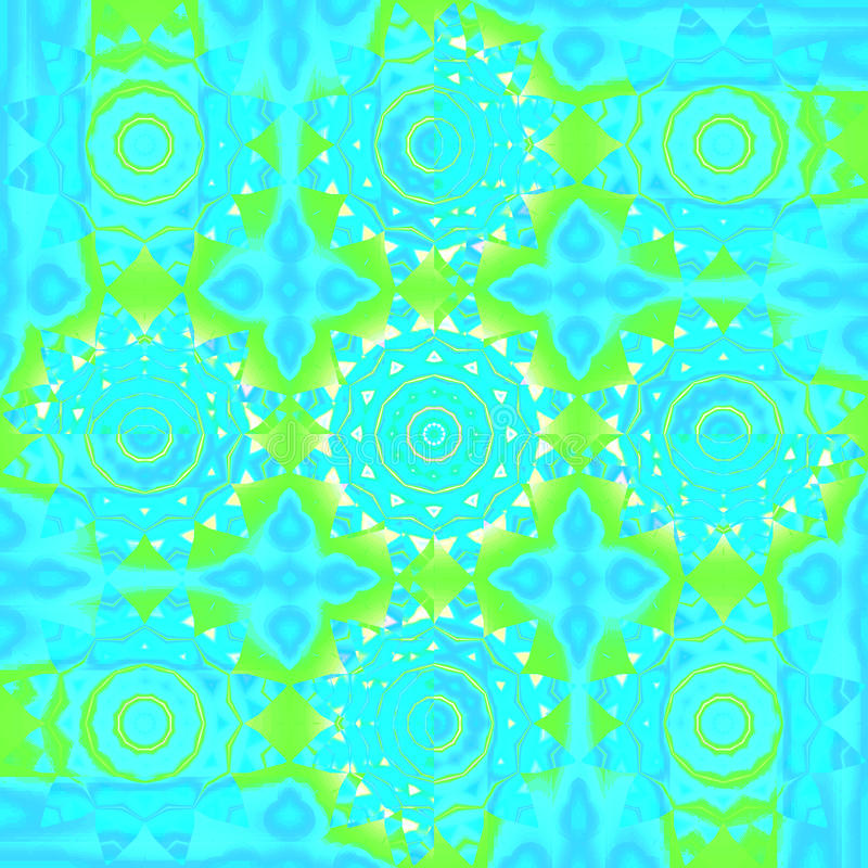 Seamless floral circles pattern turquoise blue green yellow stock illustration