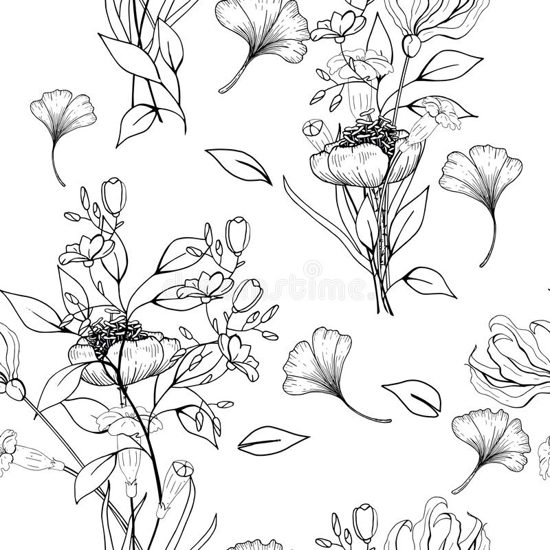 Seamless floral Contour Page hand drawn zentangle design element. Vector. Antistress Coloring page isolated on white background vector illustration