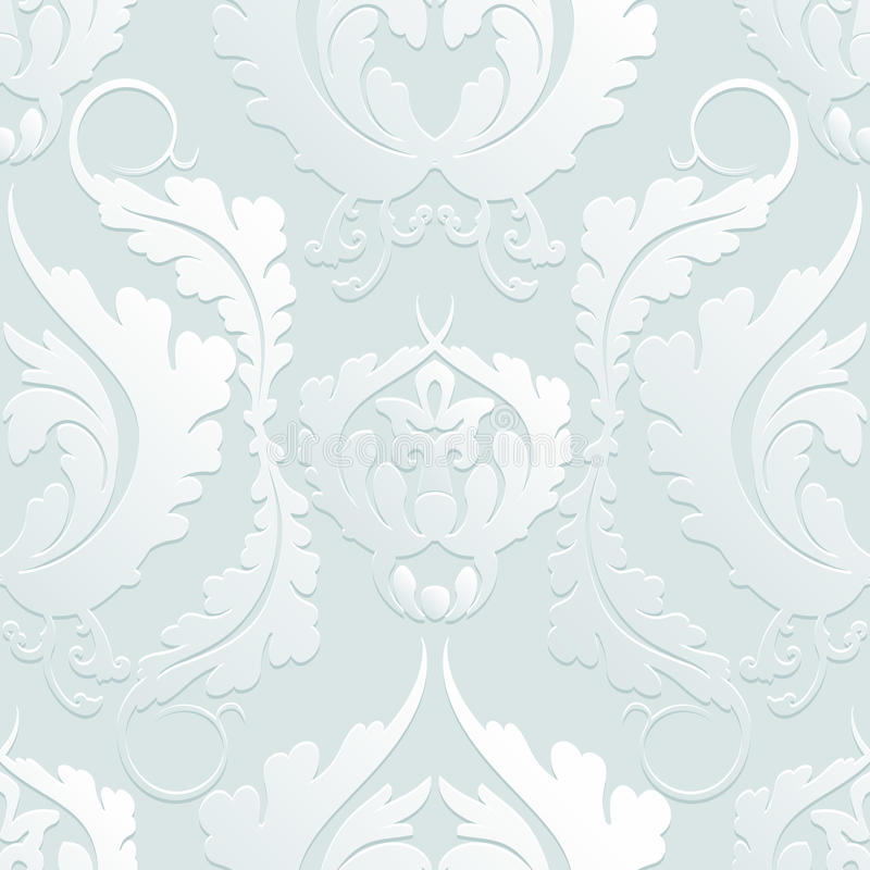 Seamless Floral 3d pattern Damascus. Elegant large flowers on a light background. Can be used to design fabrics, wallpaper, web pa royalty free illustration