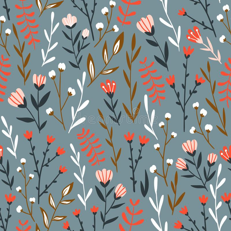 Seamless floral design with hand-drawn wild flowers. Vector illustration. Seamless floral design with hand-drawn wild flowers. Repeated pattern can be used for royalty free illustration