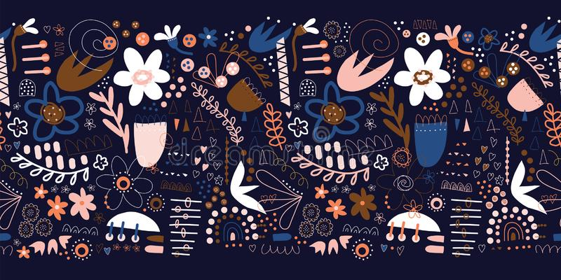 Seamless floral doodle border with plants and abstract shapes in blue pink white brown. Modern repeating pattern design vector illustration