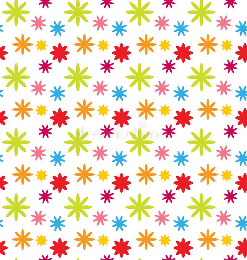 Seamless Floral Kid Texture with Colorful Flowers stock illustration