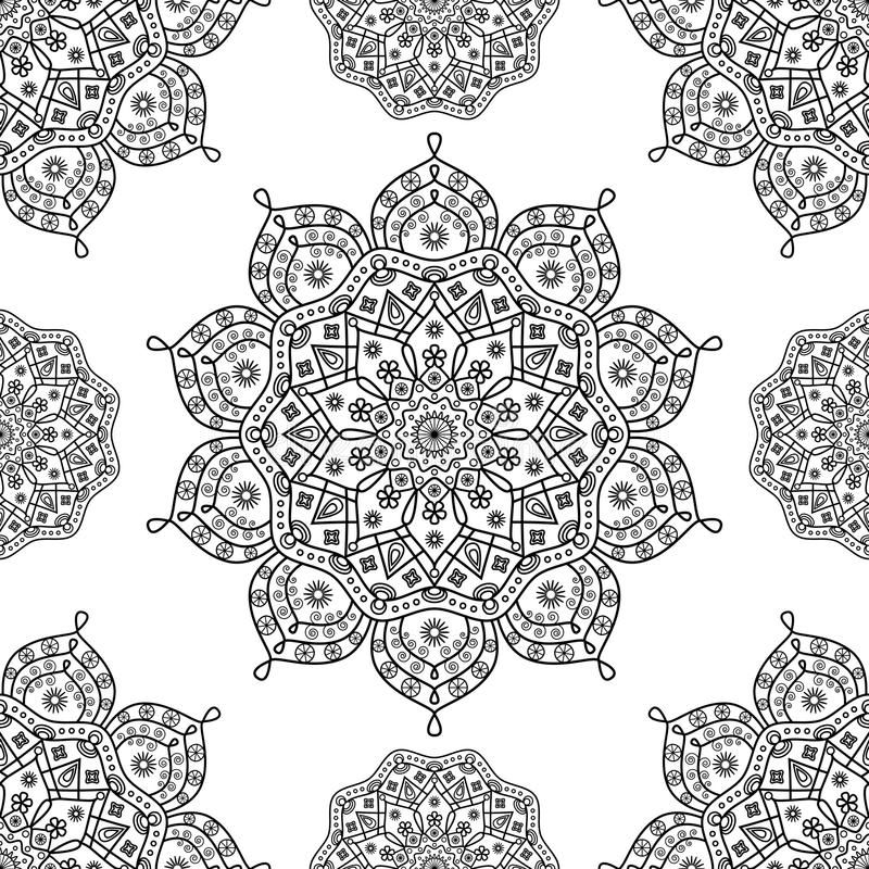 Seamless floral mandala pattern in black and white outline. stock photography