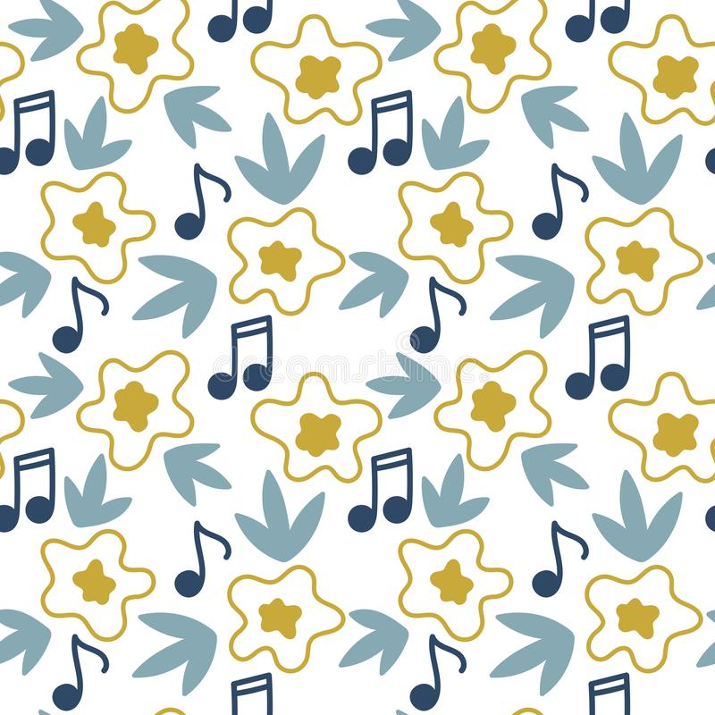 Seamless floral and musical background . Vector Hand drawn pattern stock illustration