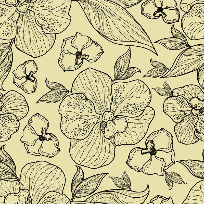 Seamless floral orchid pattern stock illustration
