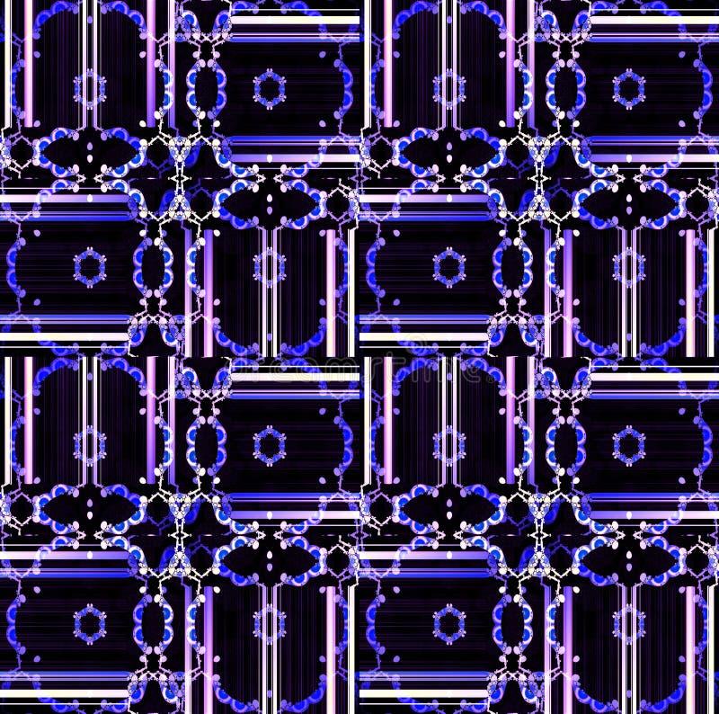 Seamless floral ornaments dark blue white pink violet purple black vector illustration