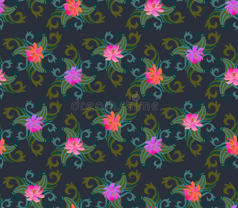 Seamless floral paisley ornament. Cosmos flowers in watercolor style and green buta pattern. Print for fabric. Indian, chinese, japanese motifs stock illustration