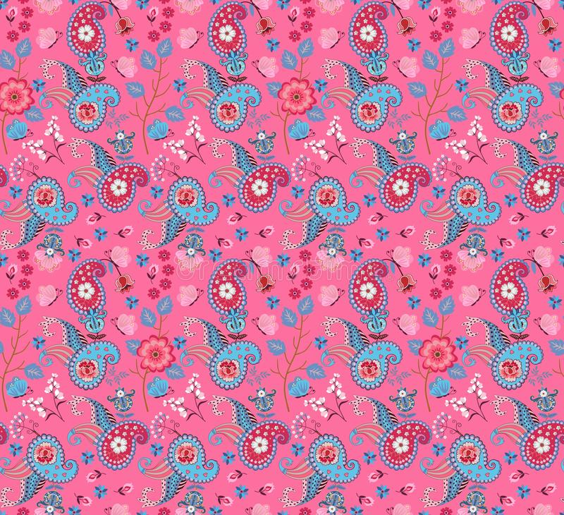 Seamless floral paisley pattern with butterflies and fantasy flowers in pink and blue colors. Ethnic style. stock illustration