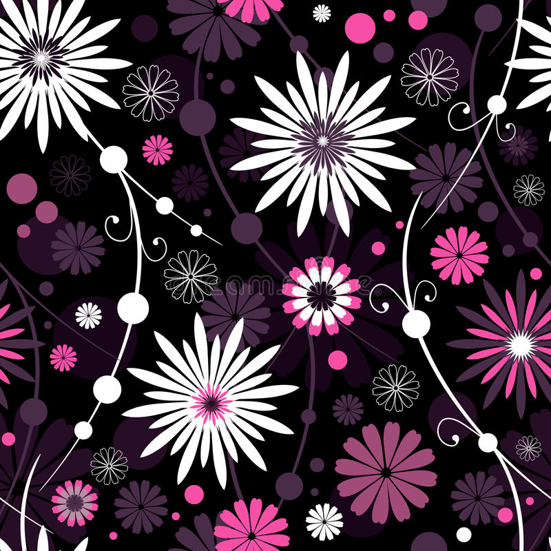 Seamless floral pattern. Seamless dark floral pattern with flowers and balls royalty free illustration