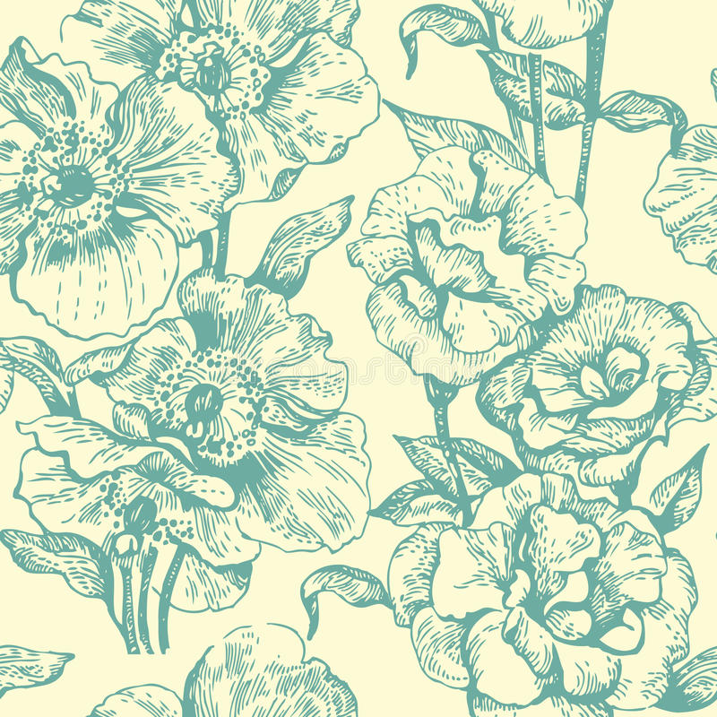 Download Seamless floral pattern stock illustration. Image of painting - 18820455