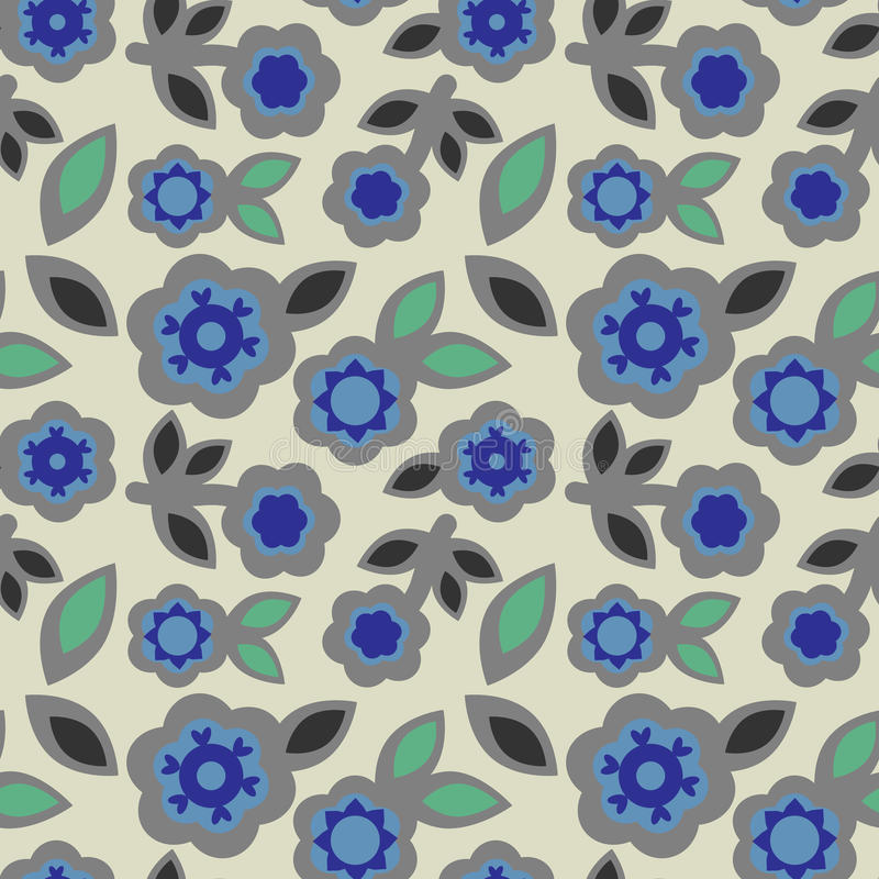 Seamless floral pattern abstract grey blue flowers geometric elements leaves japanese style, fabric stock illustration