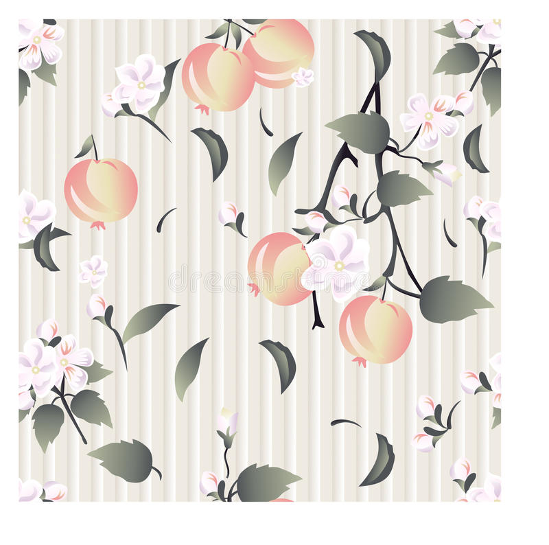 Seamless floral pattern on ancient wall-paper of cream color background with flowers, branches of an apple-tree and apples in pa stock photo