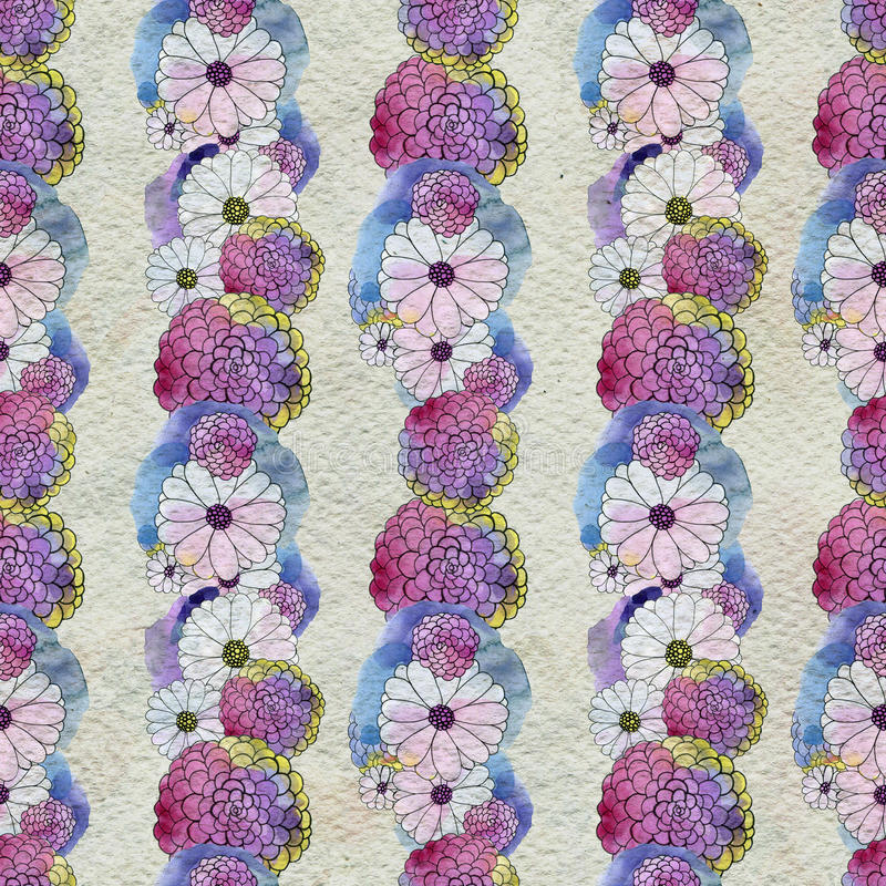 Seamless floral pattern with asters and daisy flowers. Floral watercolor background royalty free illustration