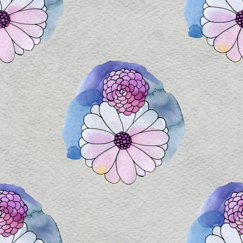 Seamless floral pattern with asters and daisy flowers. Floral watercolor background vector illustration