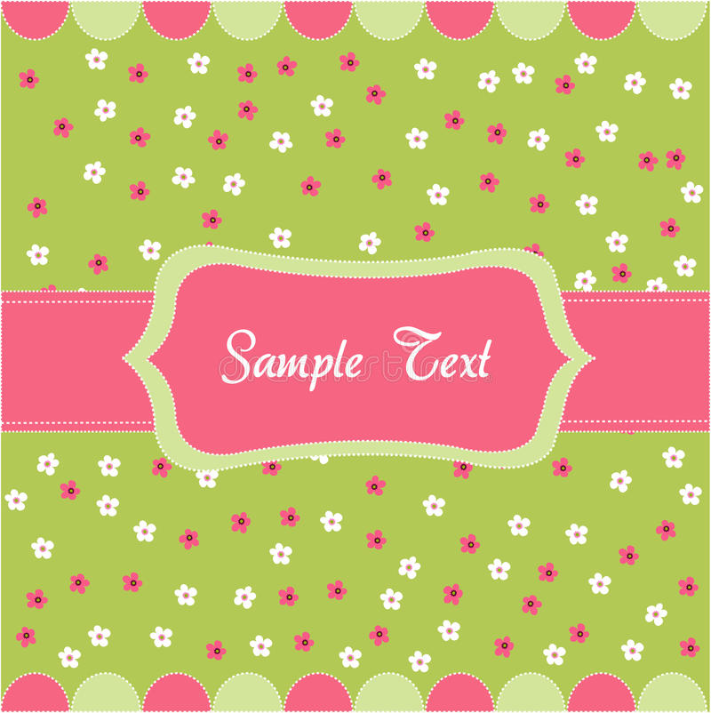 Seamless floral pattern, baby card vector illustration