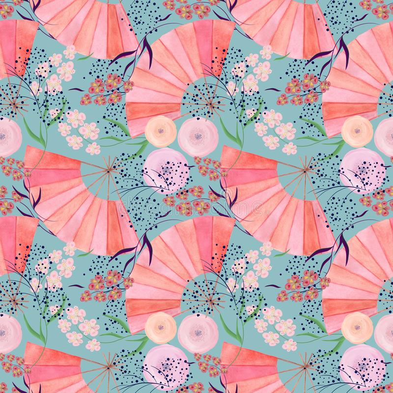 Seamless colorful floral pattern background in Japanese style. Seamless floral pattern background in Japanese style. Colorful pattern royalty free illustration