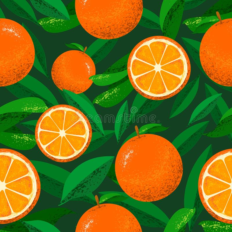 Seamless Floral Pattern with the background of oranges and leaves. Can be used and suitable for gift cards, banners, wallpapers,. Backgrounds, patterns royalty free illustration