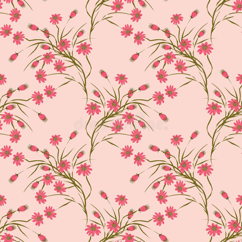 Seamless floral pattern background,red flowers on a beige background. vector illustration