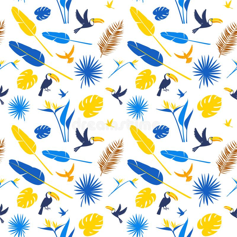 Seamless floral pattern background Tropical flowers, jungle palm leaves birds vector illustration