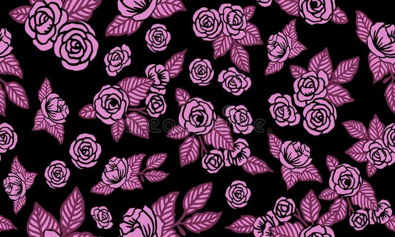 Seamless floral pattern background valentine, design magenta flower stock illustration