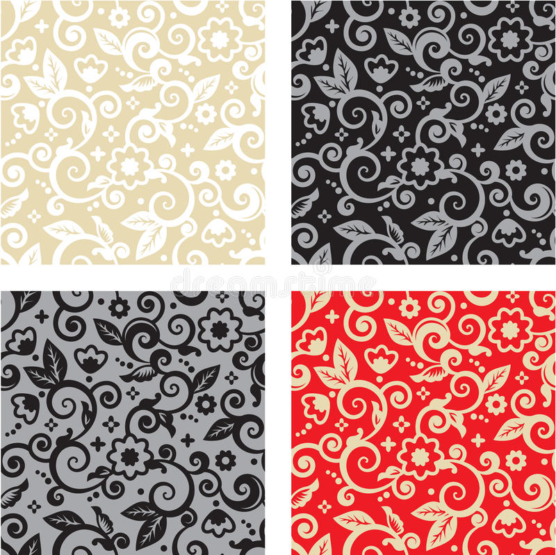 Seamless floral pattern backgrounds. Four seamless floral patterns (backgrounds, wallpapers) - tan and white, gray and black, red and gold royalty free illustration