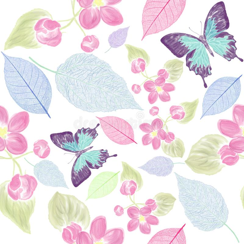 Download Seamless  Floral Pattern With Bbutterfly Stock Illustration - Illustration of leaf, blue: 108282114